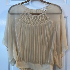Anthropologie cream flowy sheer top